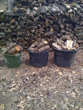 "Firewood buckets with small wood logs of 4"" to 12"" For pickup, if you desire to come by and save delivery expense. our location is convenient to Denton county near 380 Hwy and 377 in Cross Roads, TX 76227"