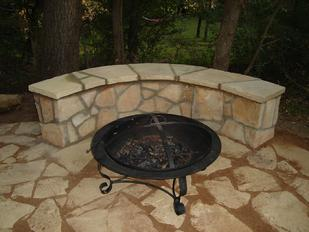 flagstone patio and stone bench